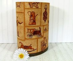 Vintage Fabric Upholstered Library Waste Bin  by DivineOrders, $32.00