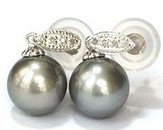 Genuine 14K White Gold Diamond 11mm Tahitian South Sea Pearl Earrings