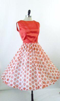 Vintage 1950s 1960s Party Dress Polka Dot Chiffon by 4birdsvintage, $124.00