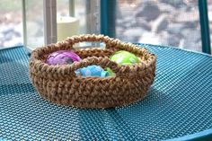 Crochet in Color: Inside Out Jute Bowl