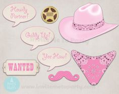 Cowgirl Photo Booth Printable Party Props Western by SurpriseINC