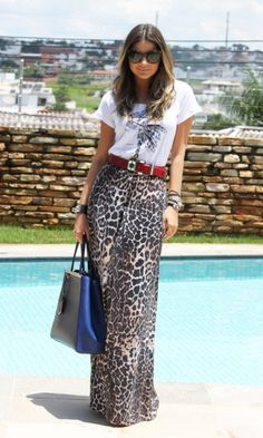 Look: Thassia Naves - Animal Prin Red belted Leopard Maxi Skirts, Maxi Skirt Outfits, Modest Outfits, Modest Fashion, Summer Outfits, Casual Outfits, Cute Outfits, Fashion Outfits, Style Fashion