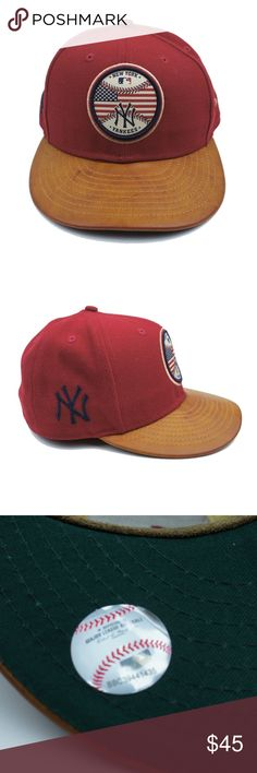 New York Yankees New Era 59fifty MLB Baseball Cap This new red New York Yankees baseball cap from New Era features a brown leather brim.  Size 7 1/2  Brand new. New Era Accessories Hats