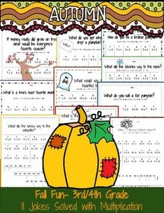 Fall Themed Multiplication Practice: Solving Jokes with Multiplicationthird grade multiplication worksheetsfourth grade multiplication worksheets11 Jokes Solved with Multiplicationsingle digit multiplicationmultiplication worksheets for 3rd-4th gradeFall ThemedHalloween ThemedMastering MultiplicationPerfect for substitutesExcellent math fact practice*****************************************************************************You may also likeMultiplication Bundle.You can also pick and…