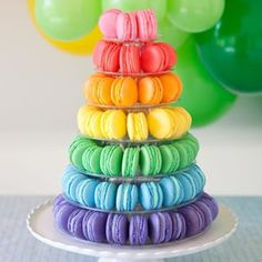 Rainbow Macaron Tower (+ More Macaron Making Tips Thanks for all of your sweet c. Rainbow Macaron Tower (+ More Macaron Making Tips Thanks for all o Rainbow Desserts, Rainbow Food, Rainbow Theme, Cute Desserts, Taste The Rainbow, Rainbow Colors, Rainbow Cakes, Rainbow Treats, Rainbow Things