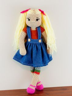 Crochet Doll Long Blonde Ponytails Ready To by TwoGirlsCrochet