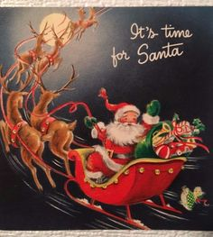 VTG MC SANTA SLEIGH DEER PRESENTS MOON DOLL FALLING USED CHRISTMAS CARD
