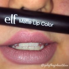 elf studio matte lip color swatch in tea rose