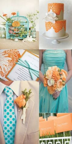 tangerine blue wedding colors --- I think I might like yellow better than orange though