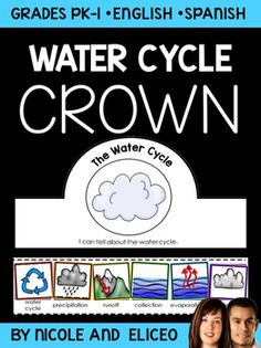 This downloads in English plus a FREE Spanish version. It includes color and blackline water cycle vocabulary cards and a crown craft template. I use it to support academic vocabulary development while we learn about the water cycle. You can make it during your unit or lessons with the whole class, at learning centers or stations, or as an independent activity.