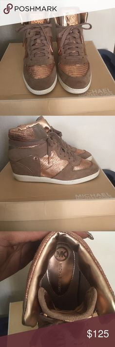 MK Wedge Sneakers MK High Top Wedge Sneakers, Sport suede, and embossed leather, Rose Gold and medium latte in color, Very comfortable and classy, worn 3 times, still like new, great buy Michael Kors Shoes Sneakers
