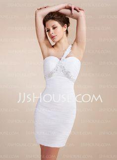 Super cute - $106.99 - Sheath One-Shoulder Short/Mini Chiffon Cocktail Dress With Ruffle Lace Beading (016020742) http://jjshouse.com/Sheath-One-Shoulder-Short-Mini-Chiffon-Cocktail-Dress-With-Ruffle-Lace-Beading-016020742-g20742