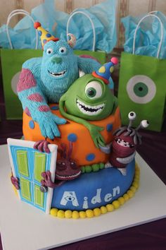 I Love Monsters Inc And So Does My Nephew I Sculpted Sulley From Cereal Treats And Modeling Chocolate Mike Was Sculpted By My Sister Wh