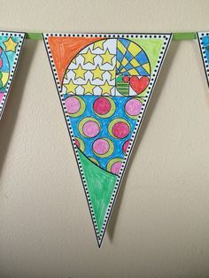 6 styles included. Golden Spiral Math pennant for all ages. This math pennant and glyph is perfect for the first week of school when kids are still getting to know each other. Students can color based on their interests, or free color the pennants. The completed pennants are great classroom decor for a bulletin board or on a string that stretches across the classroom.