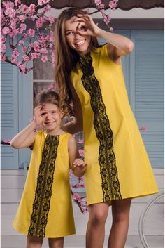 """""""Mommy and I look lovely in these Ukrainian fashion dresses. Mother Daughter Fashion, Mom Daughter, Mommy And Me Outfits, Girl Outfits, Little Girl Dresses, Girls Dresses, Folk Fashion, Yellow Fashion, Mode Inspiration"""