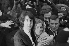 Paul and Linda McCartney after their registry office wedding on March 12, 1969.