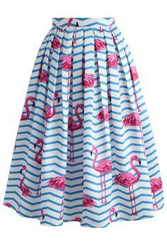 Flamboyantly Flamingo Printed Midi Skirt - New Arrivals - Retro, Indie and Unique Fashion