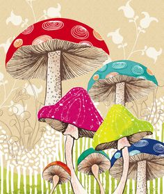 Magical Mushrooms ~ artist Amanda Dilworth #art #illustration #print