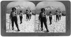 According to the Library of Congress, this was taken on Mt. Rainier. Interesting outfits. Guide and climbers on their way to the summit of Mt. Rainier, Wash. | Stereographs