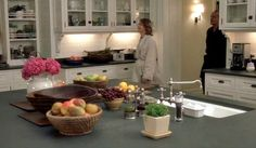 Kitchen from the Something's Gotta Give movie set.  There is just something about white subway tile.