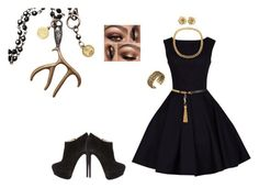 """""""black midnight stag dress"""" by fast-trek-fashion9 ❤ liked on Polyvore featuring Yves Saint Laurent, Giuseppe Zanotti, Lucky Brand, women's clothing, women's fashion, women, female, woman, misses and juniors"""