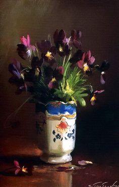 Flowers by Sergei Tutunov, Russian born artist, b.1925