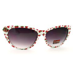 Amazon.com: Women's Cat Eye Sunglasses with Strawberry Emblem - Strawberry Printed on White Frame: Shoes