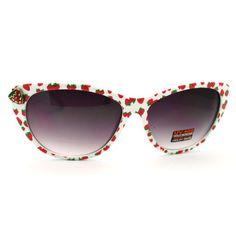 Amazon.com: Women's Cat Eye Sunglasses with Strawberry Emblem - Strawberry Printed on White Frame: Shoes