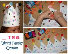 Word Family Crown:  Make words using the same ending base on a crown using letter stamps.  Decorate and wear!
