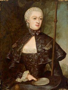 Bildnis der Gräfin Juliane Wilhelmine von Bose, geb. Gräfin zu Putbus, als Pilgerin mit Zinnteller by Christian Friedrich Reinhold Lisiewski, 1753
