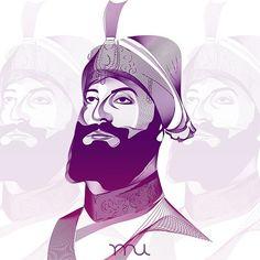 Beautiful Sikh Art of Guru Gobind Singh Ji by Raj U (@raj_ubhi_)  Beautiful, beautiful art brother.