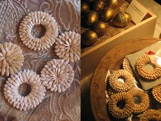 TOH copy chief Dorothy Irwin makes these lovely cantaloupe seed ornaments from practically nothing: she simply uses Elmer's Glue-All to secure the washed, dried seeds to a cardboard base.