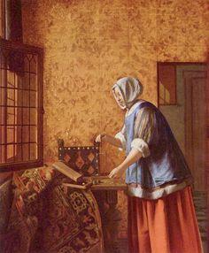 Pieter de Hooch - Mujer pesando monedas - c.1664
