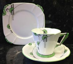 Royal Albert Art Deco Shape Embassy Pattern Tea Cup Trio.