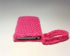 Pink Phone Case , Crochet Wristlet , Pink Wristlet , Phone Holder , Phone Wristlet , Pink Phone Cover , Crochet Cell Phone Case
