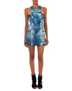 Double-Breasted Denim Dress by Balmain at Neiman Marcus. $2545