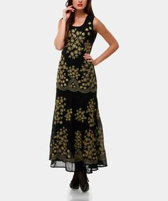 Take a look at this Black & Gold Goya Maxi Dress by Almatrichi on #zulily today - regularly $231, Zulily price $59.99 12/05/2013