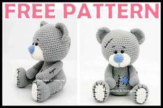 Crochet Teddy Bear Pattern Free, Teddy Bear Patterns Free, Animal Knitting Patterns, Crochet Baby Toys, Crochet Doll Pattern, Crochet Patterns Amigurumi, Free Crochet, Free Pattern, Mini Teddy Bears