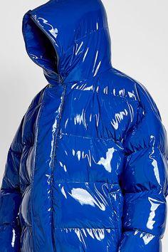 Glossy blue PVC  puffa jacket