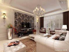 Modern Living Room decor. Painted Wall Decoration