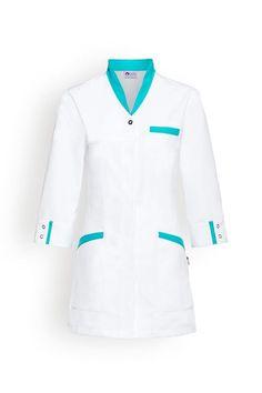 Casaque longue Scrubs Outfit, Scrubs Uniform, Chef Dress, Salon Wear, Doctor Scrubs, Stylish Scrubs, Beauty Uniforms, Blouse Nylon, Doctor Coat