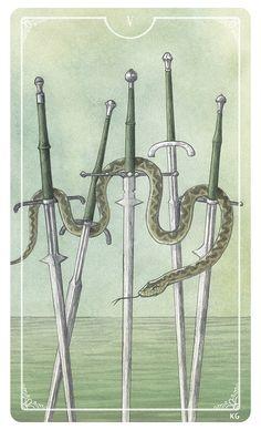 Five of Swords - Krista Gibbard For the upcoming Ostara Tarot Deck