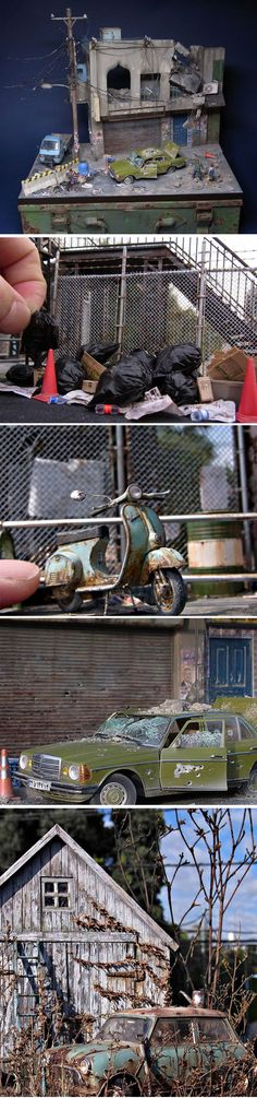 Urban scene of a war-damaged house and cars. Impressive model with a lot of trash and litter and weathered cars and a lot of details.