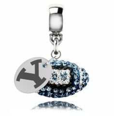 Brigham Young BYU Cougars Sterling Silver Crystal Football Dangle Charm Jewelry - http://www.mormonslike.com/brigham-young-byu-cougars-sterling-silver-crystal-football-dangle-charm-jewelry/