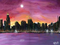 """CIUDAD DE VIENTO"" by Daniel Reynoso (Ankhsethamon). acrylic painting New York Skyline, Painting, Travel, Art, Cities, Paintings, Art Background, Viajes, Painting Art"