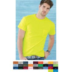 The Adult Gildan (R) Ultra Cotton (TM) T-shirt with a Pocket is a great accented top that comes in a vartiety of colors! Crafted of 6.0 oz 100% cotton, this t-shirt features a double-needle stitched neckline and sleeves in addition to shoulder to shoulder taping and a seamless collar. Quarter turned, the front of this blank garment will be crease-free so you can silkscreen it once it is in your possession. Contact us at 888-760-8974 Or just VISIT our website: www.promohubusa.com