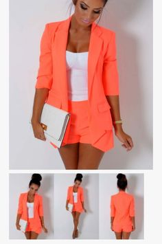 White bustier, Orange blazer  Orange shorts
