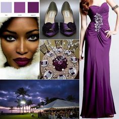 Eggplant and silver wedding inspiration board