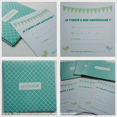invitations anniversaire enfant bleu vert