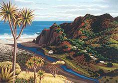 Limited edition print of Harotaonga by NZ artist Tony Ogle New Zealand Adventure, New Zealand Landscape, Maori Designs, New Zealand Art, Nz Art, Maori Art, Amazing Street Art, Kiwiana, Vintage Travel Posters